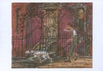 Dog 101 Dalmatians Walking A London Street Storyboard Film Painting Postcard
