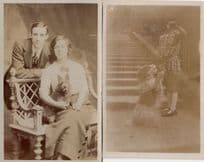 Dog Training 2x Antique Scotty Dogs Real Photo Postcard s