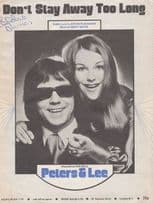 Don't Stay Away Too Long Peters & Lee 1970s Sheet Music