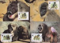 Drill Monkey 4x Camerolin WWF Stamp First Day Cover Postcard  s