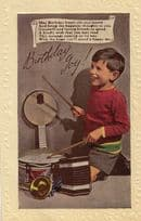Drummer Boy With Drumkit Banjo Xylophone Antique Happy Birthday Postcard