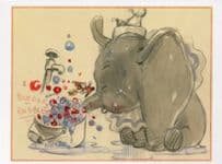 Dumbo Takes A Bubble Bath Storyboard Creation Film Painting Postcard