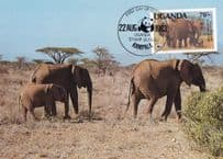 Elephant Ugandan Kampala African WWF Stamp First Day Cover Postcard