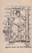 Fat Lady Baby With Dirty Nappy Her Problems Are Bigger Vintage Comic Postcard