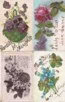 Flowers Floral Birthday 4X REAL GLITTER SPARKLE ANTIQUE Postcard s