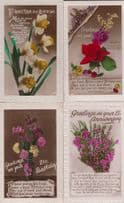 Flowers With Love 4x REAL GLITTER ANTIQUE Greeting Postcard s