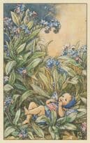 Forget Me Not Fairy From 1944 WW2 Book Stunning Postcard