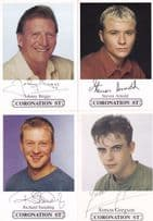FOUR Coronation Street Facimile Signed Male Actor Cast Card s