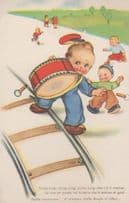 French Child Drummer Boy Drum Brass Band Cute Comic Humour France Postcard