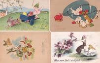 Frohe Ostern 4x Antique Rabbit Easter German Postcard s