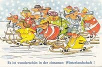 German Christmas Sleigh Race Comic Postcard