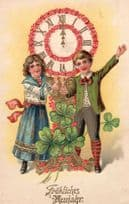 German Silk Crafts 3D Pink Happy New Year Old Clock Antique Postcard