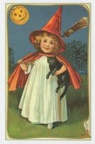 Girl As Witch Long Old Broom Black Cat Jolly Halloween Postcard