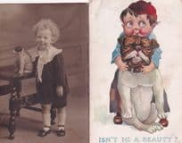 Girl With China Toy Dog + Bulldog Comic 2x Dogs Old Postcard s