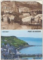 Gold Beach Port En Bessin French During WW2 Battle Military View & Now Postcard