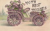 Golf Caddy Style Old Car REAL GLITTER ANTIQUE Postcard