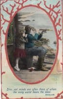 Grandfather With Telescope Periscope By Sea Antique Wordsworth Poem Postcard