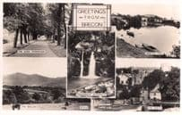 Greetings From Brecon Newton Pool River RPC Welsh Postcard