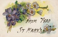 Greetings From TYDD ST MARY LINCOLNSHIRE REAL GLITTER Sparkle Antique Postcard