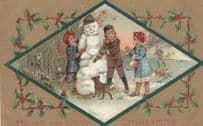 Grumpy Snowman For Happy Christmas Antique Comic Humour Postcard
