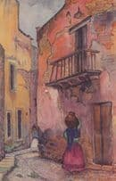 Guanajuato Mexican Water Carrier Lady Painting Old Postcard
