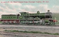 GWR G & SW Wheel Coupled Bogie Passenger Engines 381 Class Postcard