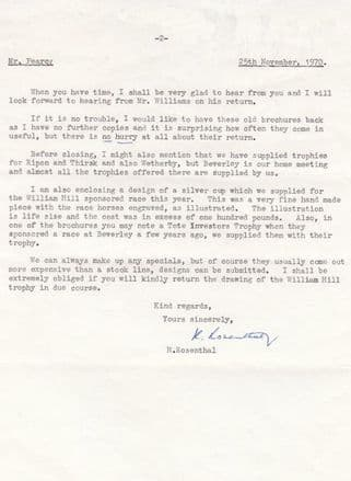 H Rosenthal Creator Of William Hill 1970 Horse Race Trophy Signed Letter