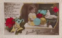 Happy 4th Birthday Child Girl Old Balloons Balloon Antique Greetings Postcard