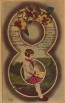 Happy 8th Birthday Blowing Bubbles Giant Pipe Antique Bowl Postcard