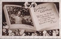 Happy Birthday Arms Stuck Tangled Up In A Flower Bush Antique Greetings Postcard
