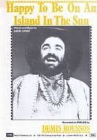 Happy To Be On An Island In The Sun Demis Roussos 1970s Sheet Music