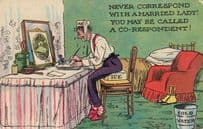 I've Been Too Busy To Write Eating Jam Larder Pantry Antique Comic Postcard