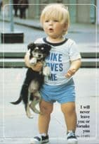 I Will Never Leave You Mike Loves Me Puppy Dog Stunning 1980s Postcard