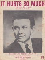 It Hurts So Much Jim Reeves 1950s Sheet Music
