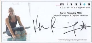 Karen Pickering Olympic Games Swimming Official Hand Signed Photo