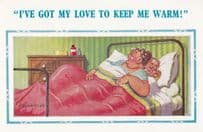 Lady In Hair Rollers Keeping Warm With Lover Cute Comic Humour Postcard