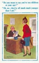 Lady With 10 Children Benefits In Family Allowances Office Comic Humour Postcard