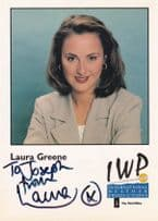 Laura Greene Weather Girl Hand IWP Signed Cast Card Photo