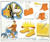 Leather Handbag Fashion Shoes Bicycle Old French School Chart Postcard