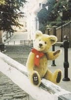 Lincoln Toy Teddy Bear in Red Ribbon Waving On Steep Hill Rare Postcard