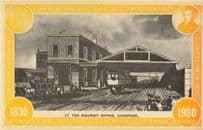 Liverpool & Manchester Ticket Station Railway Office 150 Years Postcard