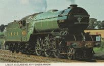 LNER V2 Class 4471 Green Arrow Train Photo Postcard