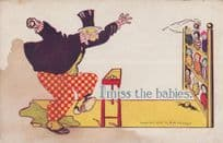 Man With Tombola Toy Doll Game Knock Down Puppets Antique Fair Comic Postcard