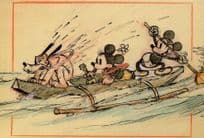 Mickey Mouse in Hawaiian Holiday Boat Cartoon Goofy Walt Disney Postcard
