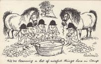Norman Thelwell Pony Camp Cleaning Comic Postcard