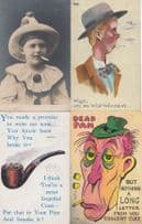 Offensive Smoking Cigarette Clown Dead Pan Rude Pipe Message 4x Antique Postcard