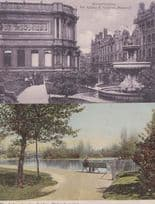 Old Lady at Wolverhampton Lake + Family at Art Gallery 2x Antique Postcard s