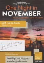 One Night In November Coventry WW2 Bombings Play Actor Hand Signed Theatre Flyer
