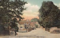 Pangbourne Entrance To Village Of Man With Cross Dog Berkshire Antique Postcard