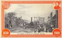 Parkside Station Train Taking Water Liverpool Manchester Railway Postcard